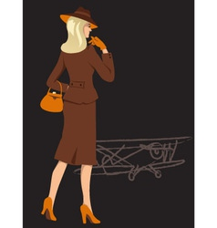 Woman on the airfield vector