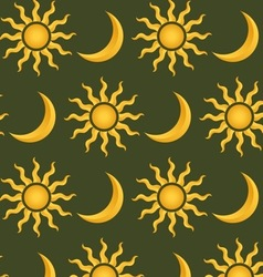Sun and moon pattern vector