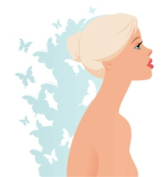 Beautiful blonde girl in profile vector