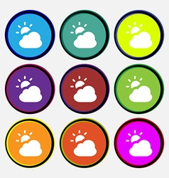 Weather icon sign nine multi-colored round buttons vector