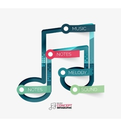 Music note infographic flat concept vector