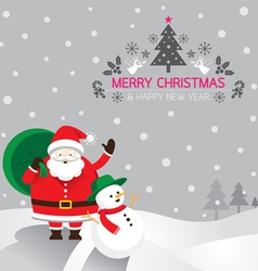 Santa snowman background vector