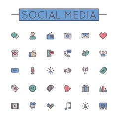 Colored social media line icons vector