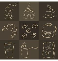 Morning breakfast set of coffee logos vector