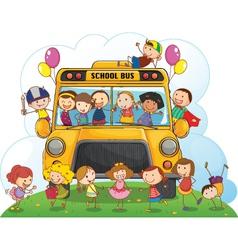 Kids with school bus vector