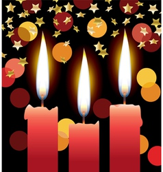 Candles with lights and stars vector
