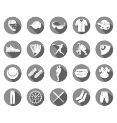 Set of icons of baseball in style flat design vector