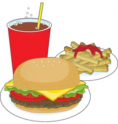 Hamburger and fries vector