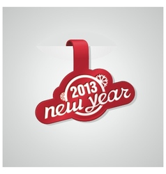 Red sticker with text new year vector