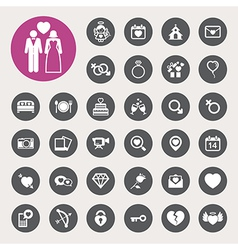 Valentines day and wedding icons set vector