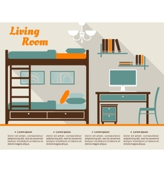 Living room flat interior design infographic vector