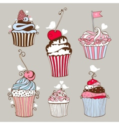 Decorative hand drawn sweet cupcakes vector