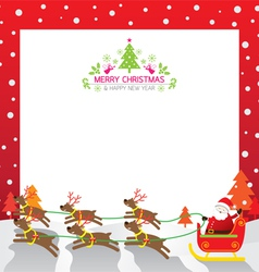 Christmas santa reindeer border vector