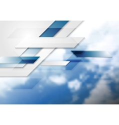 Blue shiny hi-tech background and cloudy sky vector