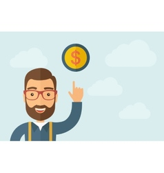 Man pointing the dollar coin icon vector