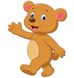 Cute brown bear cartoon waving hand vector