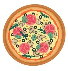 Pizza with tomato mushrooms and olives vector