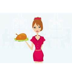 Beautiful waitress serving a turkey vector