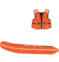 Inflatable boat and life vest vector