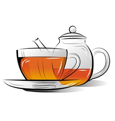 Drawing teapot and cup of tea vector