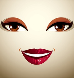 Coquette glad smiling woman eyes and lips stylish vector