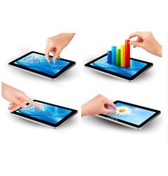 Set of tablet screen with graph and a hand vector