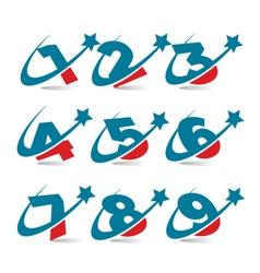 Swoosh patriotic logo numbers vector