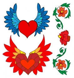 Valentine set tattoo and renaissance vector