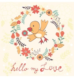 Hello my love card with bird vector