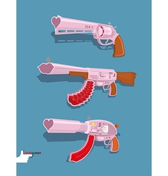 Set love guns automatic blaster magnum vector
