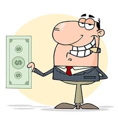 Businessman shows big dollar vector