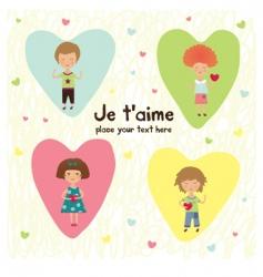 Valentine kids vector