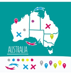 Vintage hand drawn australia travel map with pins vector