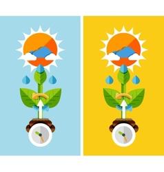 Flat design nature concept - plant growth vector
