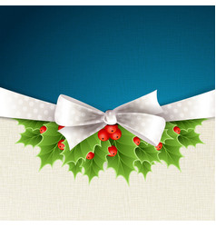 Christmas background with ribbon and holly vector