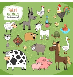 Set of hand-drawn farm animals vector