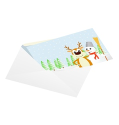 Christmas card in an envelope vector