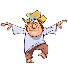 Cartoon man in a hat and bare feet standing vector