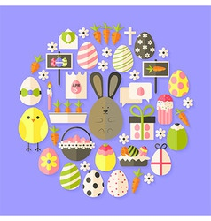 Easter flat icons set circular shaped with shadow vector