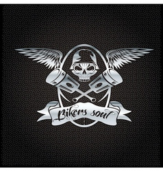 Bikers soul silver crest with skullwings and vector