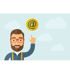 Man pointing the e mail internet icon vector