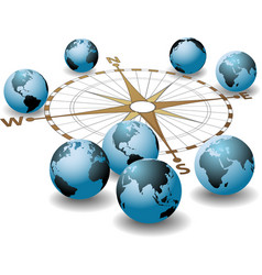 Compass points earth global directions vector
