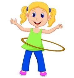 Cute girl twirling hula hoop vector