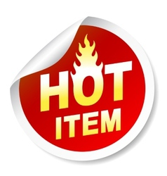 Isolated on white hot item badge with flame vector