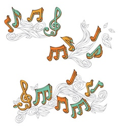Set of retro music page decorations vector