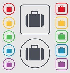 Suitcase icon sign symbol on the round and square vector