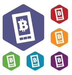 Bitcoin screen hexagon icon set vector