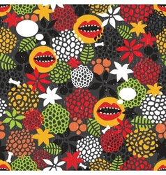 Seamless pattern with crazy mouth vector