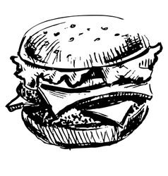 Delicious juicy burger vector