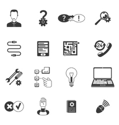 Black and white support icon set vector